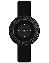 Divine Women Fashion Black Color Dial Black Strap Quartz Wrist Watch For Girls And Women