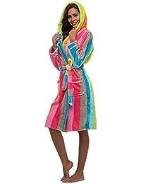 2737ceec8d YTFOPLK Damen Flanell Robe Mit Kapuze Gestreifte Gedruckte Plüsch Robe  Knielangen Luxus Nachtwäsche Winter Warm Leichte…