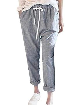 Mujer Pantalones de Cintura Alta Oficina Deportivos Cordón Lazo Bolsillos Pantalones de Harén