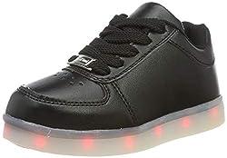LeKuni Unisex LED Schuhe Leuchtschuhe 2019 Verbesserung 7 Farbe Blinkende Leuchtende Light up Low Top Sneakers, Schwarz, 32 EU