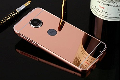 D-kandy Luxury Metal Bumper + Acrylic Mirror Back Cover Case For MOTO Z PLAY - ROSE GOLD