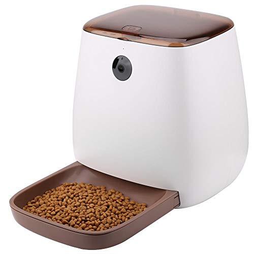Alimentador automático de Mascotas para Gatos Perros - Dispensador automático de Alimentos App remota Inteligente Comedero con cámara grabadora de Voz Compatible con Android Apple iOS(EU Plug)