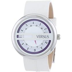 Versus Damen-Armbanduhr 40mm Armband Kalbsleder Weiß Gehäuse Edelstahl Quarz Analog SGI030013