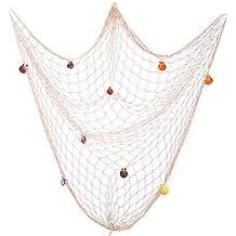 Ayuboom Fischernetz Deko,Maritime Deko,Mediterranen Stil Fischerei  Dekorative Mit Farbigen Muscheln,Netz