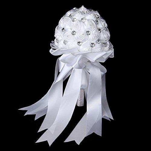 Bouquet nuziale, realizzato in raso con cristalli, di colore bianco, ottimo per damigella d'onore, con fiori decorativi