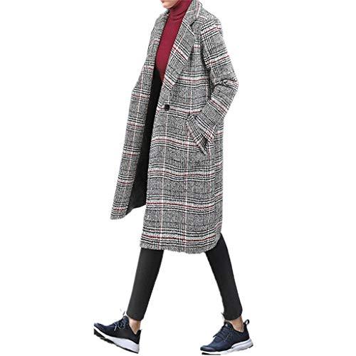 Hanomes Damen Mantel,Damen Winter Warme Parka Mode Vintage Kariert Wolltuch Mantel Verdicken BaumwolleMantel Lange Revers Knopf Strickjacken - - Knopf-front, Lange Strickjacke