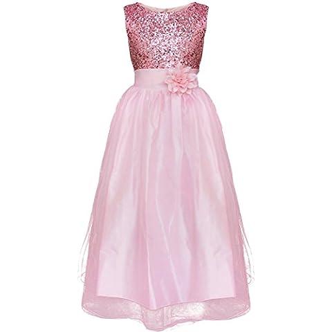 iEFiEL Vestido Elegante para Ninas Chicas de Ceremonia de Fiesta Con Lentejuelas Brillantes Varios