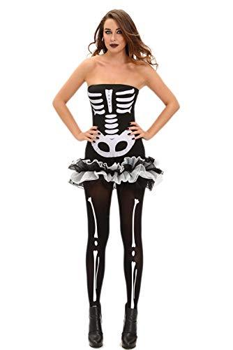 Kostüm Sehr Beängstigend - MHPY HalloweenSkeleton Skull Print beängstigend sexy Halloween-Kostüme für Frauen Party Adult trägerlosen Tutu Kleid