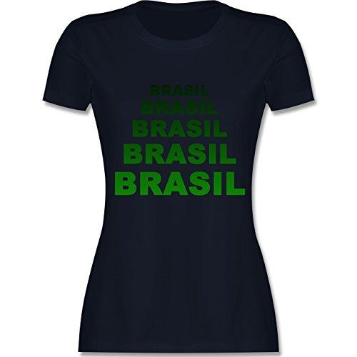 Länder - Brasil Fanshirt - tailliertes Premium T-Shirt mit  Rundhalsausschnitt für Damen Navy Blau