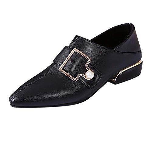 Makefortune 2019 Damen Ballerinas Damen Weibliche Schnalle Große Größe Einzelne Schuhe Spitz Dick Mit Niedrigen Ferse Ankle Boots Schwarz braun 35-42