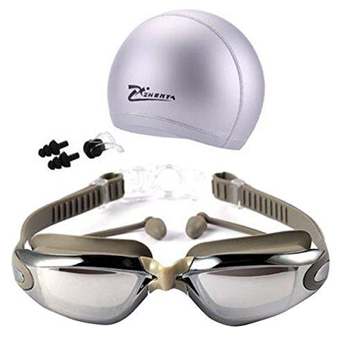 Tukistore Schwimmbrille Badekappe Set für lange Haare Schwimmbrille Anti-Fog UV-Schutz Coated Lens mit Nase Clip Ohrstöpsel Sets für Erwachsene Jugend Männer Frauen Jungen Kinder