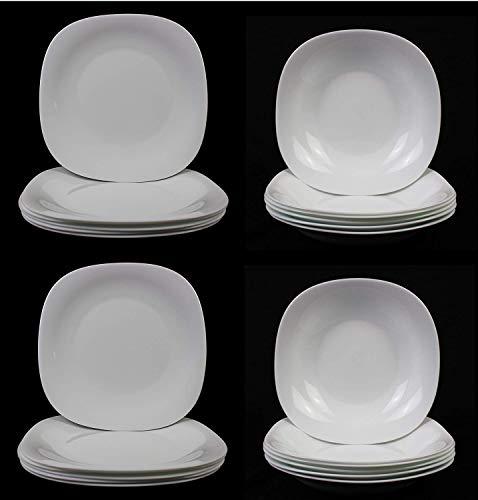 Fitting Gifts Bistro Collection Service de Table Parma Légèrement Carré, Blanc Brillant, avec 12x Assiettes Plates et 12x Assiettes Creuses (24 Pièces)