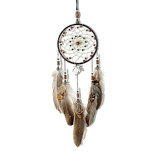 IMMIGOO Traumfänger Handgefertigt Traditionelles Dreamcatcher Indischen Gute Träume Wand Zimmer Auto Deko Ornament Geschenk Braun (Dreamcatcher)