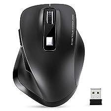 TedGem Maus Kabellos, Funkmaus, 2.4G Kabellose Maus, Tragbar Wireless Maus, Laptop Maus mit USB Nano Empfänger, 6 Tasten, 5 Einstellbare DPI für PC/Tablet/Laptop und Windows/Mac/Linux (Schwarz)