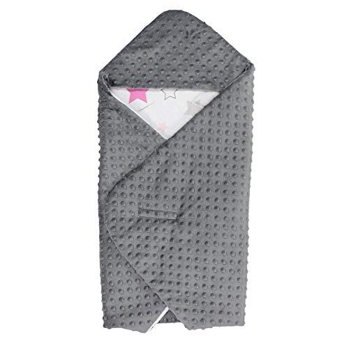TupTam Baby Sommer Einschlagdecke für Babyschale, Farbe: Sterne Rosa/Grau, Größe: ca. 75 x 75 cm