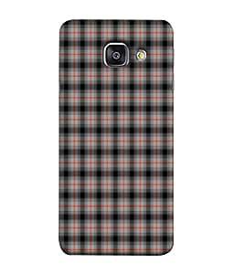 PrintVisa Designer Back Case Cover for Samsung Galaxy A3 (6) 2016 :: Samsung Galaxy A3 2016 Duos :: Samsung Galaxy A3 2016 A310F A310M A310Y :: Samsung Galaxy A3 A310 2016 Edition (Dark Red Line Check Square Fabric Matefinish Cloth)