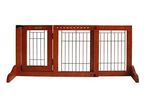 Simply Shield+ | Hunde-Barriere | Hunde-Absperrgitter | Verstellbare Breite mit Tür | Freistehend | in 3 Farben und 2 Größen erhältlich (S, Braun)