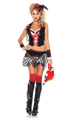 Mouse Mickey Pirat Kostüm - Leg Avenue 83949 - Plank Walking Piraten Kostüm, Größe: L, schwarz/weiß