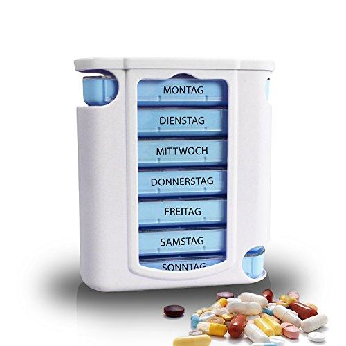 myKlix Praktische Tablettendose - Pillenbox Organizer 7 Tage Aufbewahrung Wochendosierer und Medikamentendosierer - Pillendose Aufbewahrung für unterwegs und zu Hause