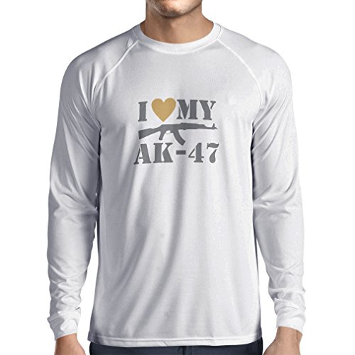 Langarm Herren t shirts Ich liebe meine Ak - 47, russisch machte Aka,  Калашников Kalashnikov (Small Weiß Silber)