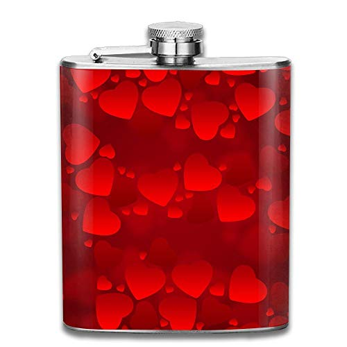 Presock Flachmann,Stainless Steel Hip Flask 7 Oz (No Funnel) Red Love Heart Full Printed Red Funnel