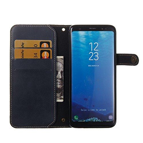 Hülle für Samsung Galaxy S8, Tasche für Samsung Galaxy S8, Case Cover für Samsung Galaxy S8, ISAKEN Farbig Blank Muster Folio PU Leder Flip Cover Brieftasche Geldbörse Wallet Case Ledertasche Handyhül Knopfe Linie Dunkelblau
