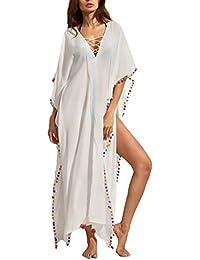 Vestito Lungo Donna Eleganti Vestiti Lunghi Estivi Manica Corta Collo V Larghi  Con Pompon Palla Nappa Moda Giovane Hippie Casual Hip… 1417e21e0c6