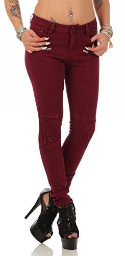 Fashion4Young 5755 Damen Jeans Röhrenjeans Hose Stretch-Denim Skinny Röhre Damenjeans Slimline (XL=42, weinrot)