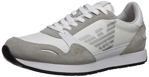 Emporio Armani Herren Lace-Up Sneaker Turnschuh, weiß, 43 EU