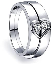 Magic Stones Silver and Rhodium Coated Love Couple Ring with Free Ring Box FOR GIRLS and BOYS as Valentine Day Gift