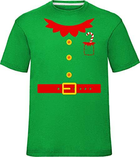 Kinder Weihnachten Elfe Jacke Kostüm T-Shirt Kelly Grün 7-8 Jahre (Nordpol Elfen Kostüm)