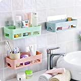 HOME CUBE 2 Pc Multipurpose Kitchen Bathroom Shelf Wall Holder Storage Rack Bathroom Rack Storage Box Strong Magic Sticker Shower Rack Shelf - Random Color (2)