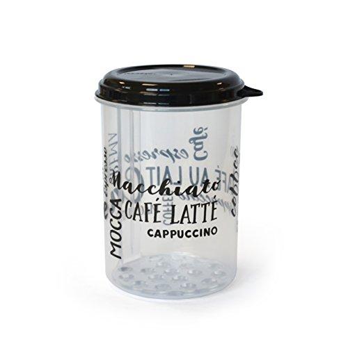 Kigima Kaffedose Aufbewahrung Transparent mit Kaffeeschriftzügen 1 Liter