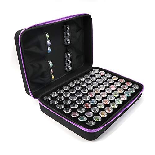70 Kunststoff Dosen für 5D Diamant Malerei Werkzeug Diamant Stickerei Sortierbox in Aufbewahrungbox Werkzeugbehälter Schmuck Organizer Diamond Painting Box für Nägel, Strass, Perlen etc. (70 Slots) - Side-mount-tool-box