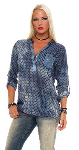ZARMEXX Femmes Viscose Chemisier Style Rétro Tunique À Manches Longues Paillettes Chemise de pêcheur Batique ample  Bleu