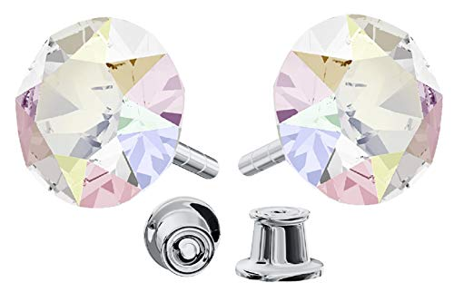 Crystals & Stones *Xirius* 925 Sterlingsilber Ohrstecker *Viele Farben* - Ohrringe mit Kristallen von Swarovski® - Schön Ohrringe Damen - Wunderbare Ohrringe mit Schmuckbox - PIN/75 (Crystal AB)