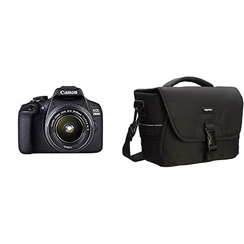 Canon EOS 2000D Spiegelreflexkamera mit dem Objektiv EF-S 18-55 is II Kit & AmazonBasics - Mittlere Schultertasche für SLR-Kamera und Zubehör, Schwarz mit Grauer Innenausstattung -