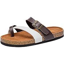ZKOO Zehentrenner Hausschuhe Damen Riemchen Sandalen Kork Fußbett Pantoletten Sandalen Schlappen Flache Schuhe mit Metallschnalle Weiß su61eUn
