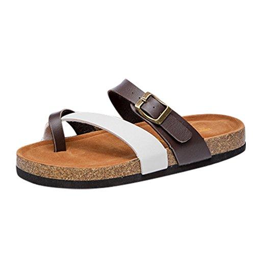 ZKOO Zehentrenner Hausschuhe Damen Riemchen Sandalen Kork Fußbett Pantoletten Sandalen Schlappen Flache Schuhe mit Metallschnalle