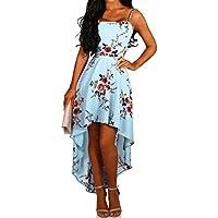 holitie Vestido de Esmoquin Irregular para Mujer, con Flecos y Estampado Floral, con Flecos de Playa, para Mujer.