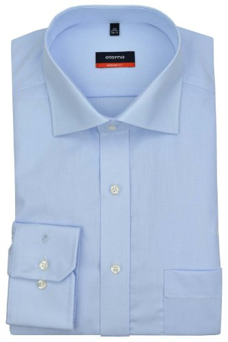 eterna Langarm Hemd Modern Fit Popeline Unifarben 63 hellblau