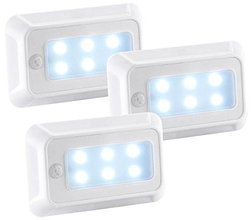 Luminea Bewegungslicht: LED-Nachtlicht mit Bewegungs- & Dämmerungs-Sensor, Batterie, 3er-Set (Nachtlicht mit Bewegungsmelder) Batterie-sensor