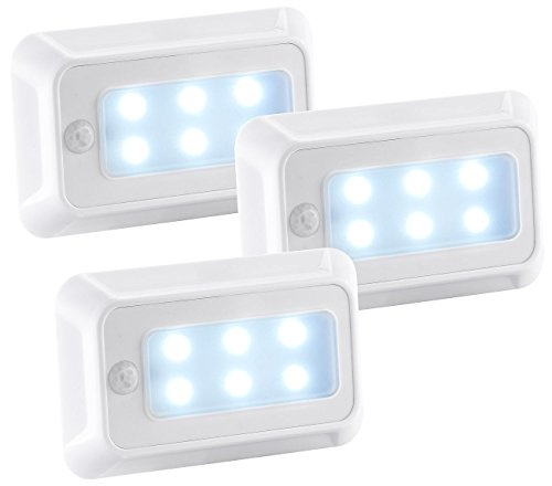 Batterie-leuchten (Luminea Treppenleuchte: LED-Nachtlicht mit Bewegungs- & Dämmerungs-Sensor, Batterie, 3er-Set (LED-Leuchten mit Bewegungsmelder batteriebetrieben))