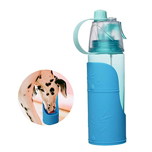 ZYliunian 600 ml Wasserflasche Haustier Wasserversorgung Hund Katze Mit Abnehmbarer Silikonschale, Wassersprühgerät Haustier Dual-Use-Reisebecher Geeignet Für Spazierengehen, Sport, Wandern, Camping