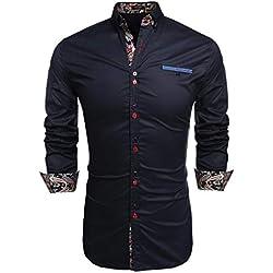 Coofandy Camisa Casual Manga Larga Para Hombre de Moda Azul Oscuro Talla-L