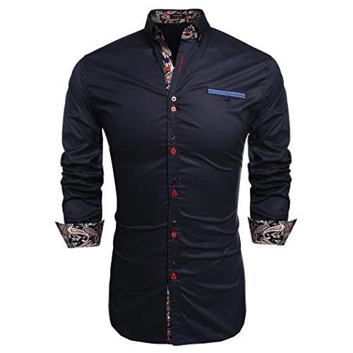 Coofandy Chemise Homme Manche Longue Coton de Marque Col Italien Boutonné Casual Mode Bleu Marine Taille XXL