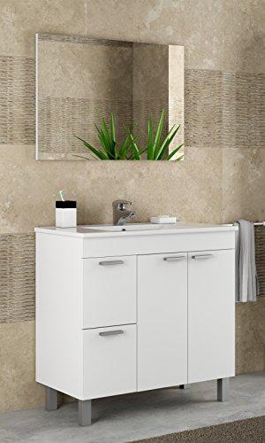 Mueble lavabo de baño o aseo con lavamanos de PMMA y un fantástico espejo a juego, dos puertas y dos cajones color blanco brillo 80x80x45cm