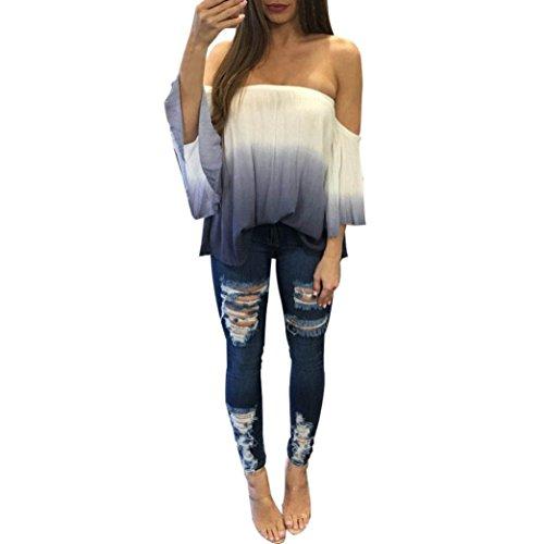 Preisvergleich Produktbild Tops Damen Xinan aus Schulter Kleidung Bluse T-shirt (M,  Weiß)
