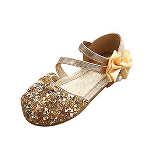NiSeng Bambini Ragazze Paillettes Scarpe Eleganti Piatto Ballerina Bimba Partito Scarpe Principessa Scarpe Oro 22(Lunghezza 14cm)