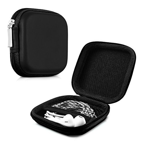 kwmobile Tasche für In-Ear Kopfhörer - Case Hardcase Schutztasche Earphone Cover Schutzhülle - Headphone Etui in Schwarz (Ohrstöpsel Ipod Apple)